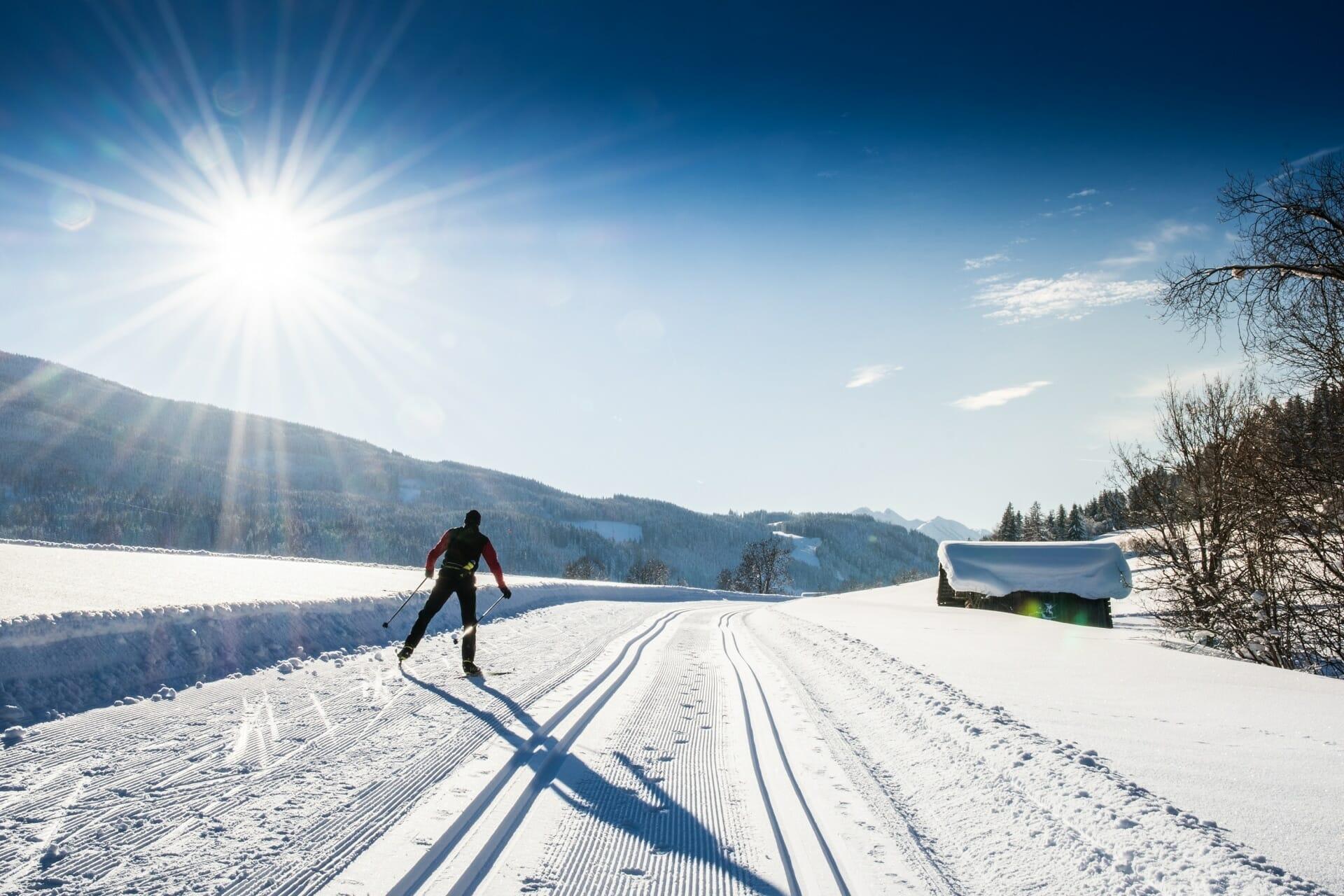 Langlaufen in Flachau bei Sonnenschein