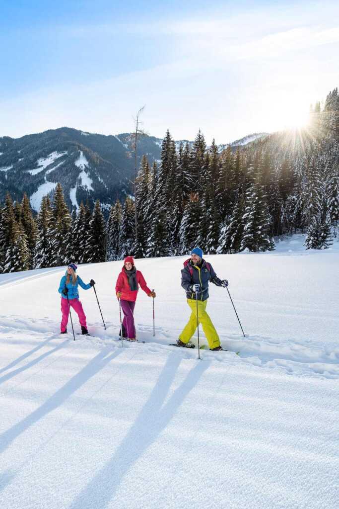 Winterwanderung bei Sonnenschein in Flachau